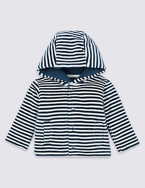 Cotton Rich Striped Velour Jacket