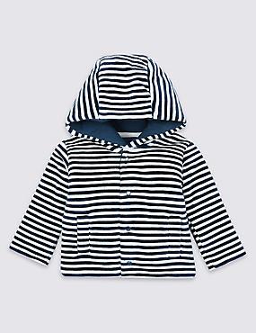 Cotton Rich Striped Velour Jacket