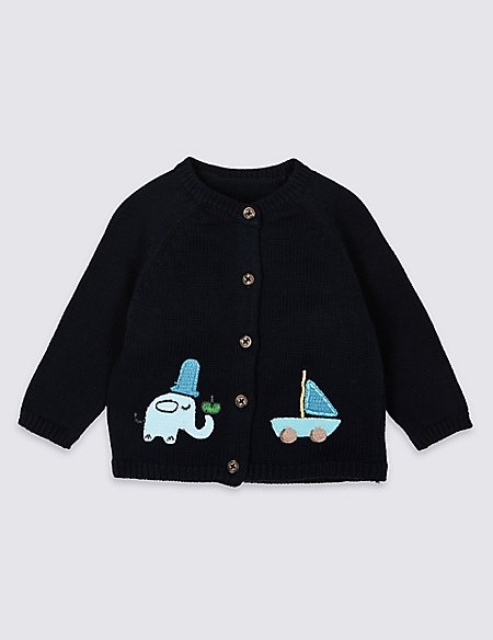 Pure Cotton Applique Elephant Cardigan