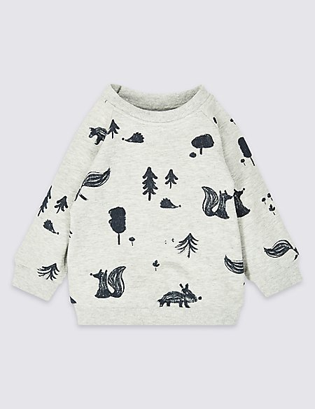 Cotton Woodland Sweatshirt with Stretch