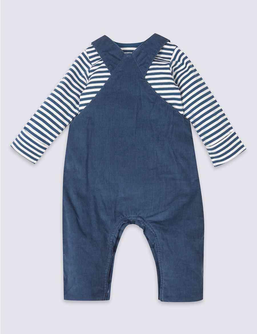 b81828622 2 Piece Cord Applique Dungarees   Bodysuit