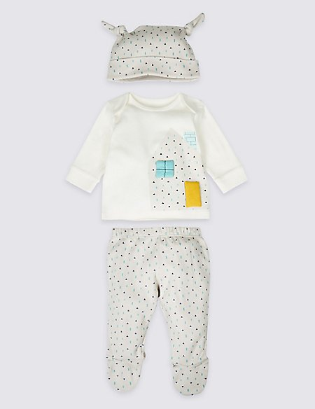 3 Piece Pure Cotton Top & Bottom with Hat