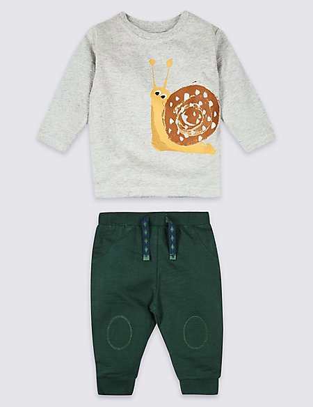 2 Piece Snail Top & Joggers Outfit