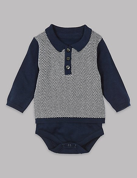 Pure Cotton Knitted Polo Bodysuit