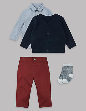 4 Piece Cardigan, Shirt & Trousers with Socks