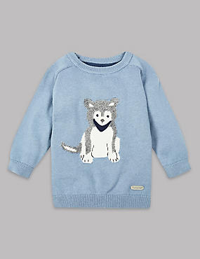 Pure Cotton Intarsia Jumper