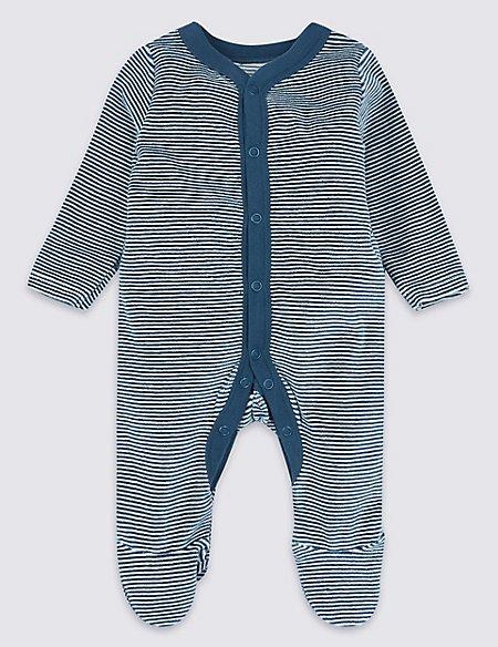 Cotton Rich Velour Striped Sleepsuit