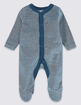 Cotton Rich Velour Striped Sleepsuit