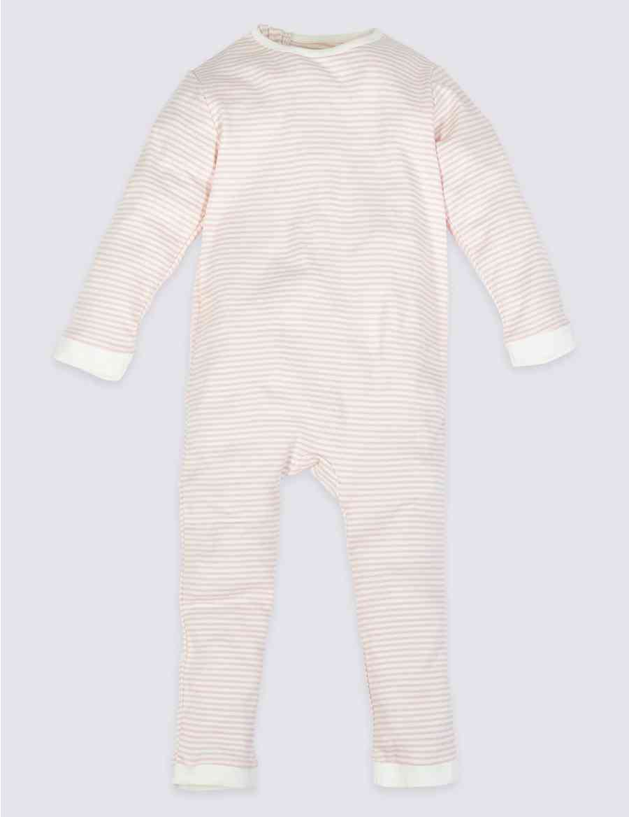 7da40df9a7d5 Easy Dressing Pure Cotton Back Zip Striped Sleepsuit (3-16 Years)
