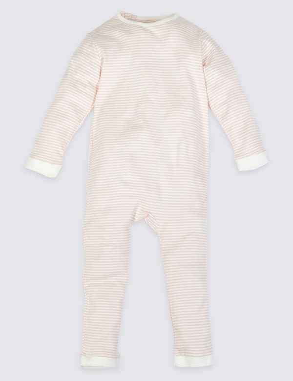 973423dd28 Easy Dressing Pure Cotton Back Zip Striped Sleepsuit (3-16 Years)