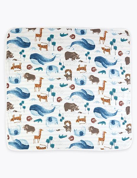 Pure Cotton Jersey Animal Print Blanket
