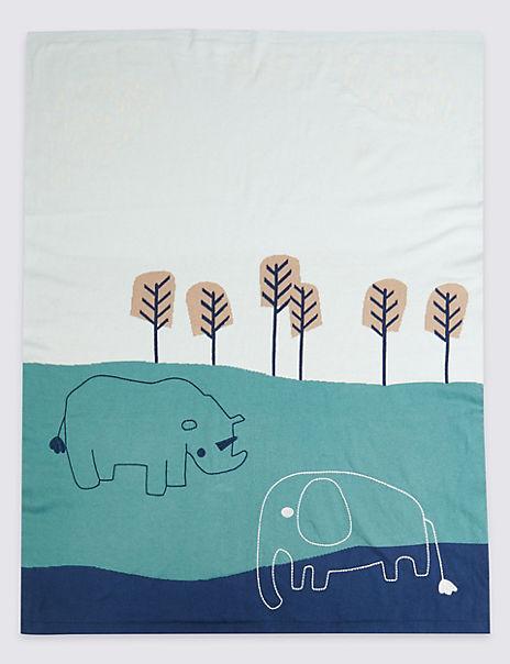 Pure Cotton Jungle Print Blanket