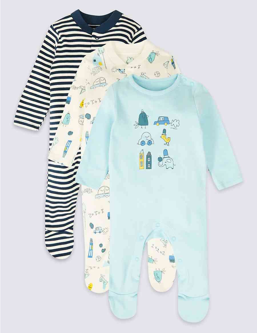 1067b5388245 3 Pack Pure Cotton Sleepsuits
