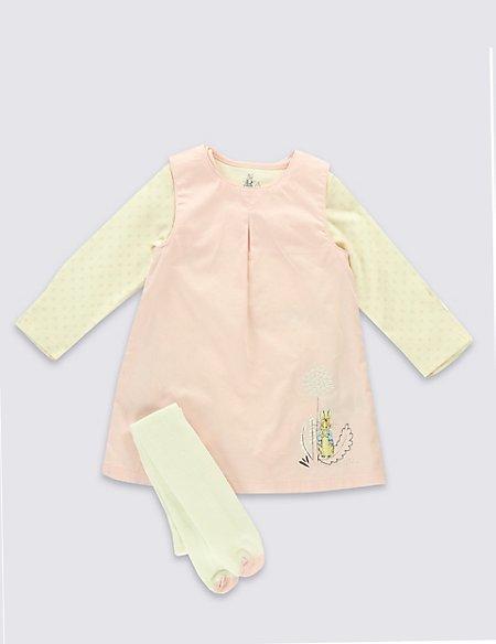 3 Piece Cotton Rich Peter Rabbit™ Pinafore, Bodysuit & Tights Outfit