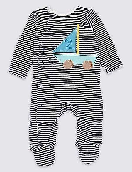 Cotton Rich Applique Boat Velour Sleepsuit