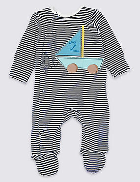 Cotton Rich Applique Boat Sleepsuit