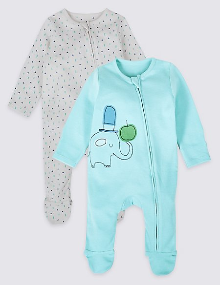 2 Pack Pure Cotton Zip Through Sleepsuits