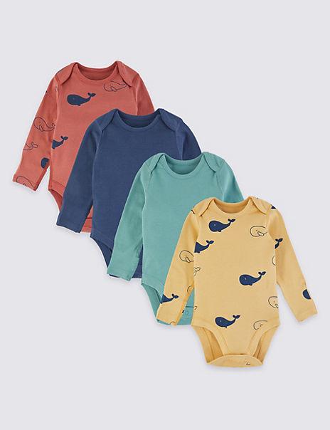 4 Pack Cotton Animal Print Bodysuits