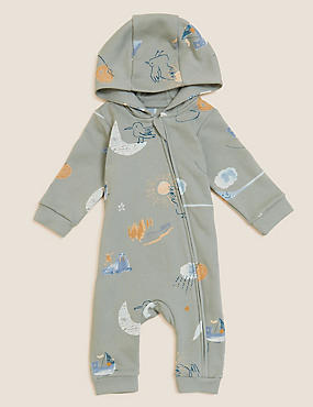 Cotton Hooded Printed All in One (0-3 Yrs)