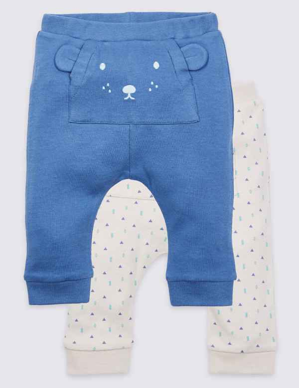 337a512380b 2 Pack Pure Cotton Face Detail Joggers