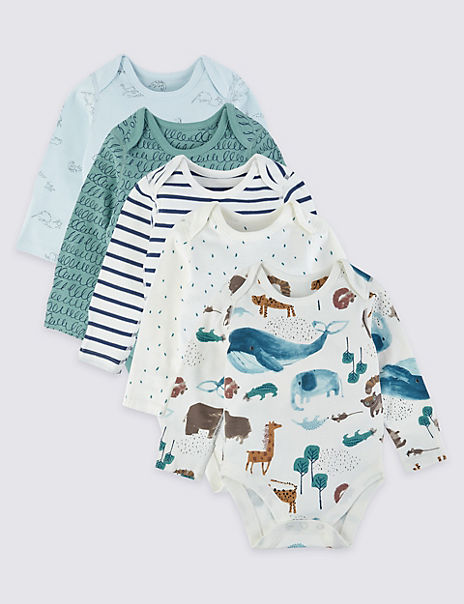 5 Pack Organic Pure Cotton Patterned Bodysuits