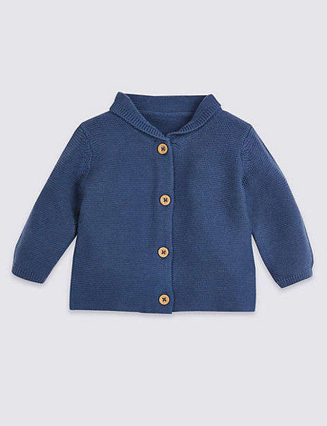 Cotton Knitted Hooded Cardigan