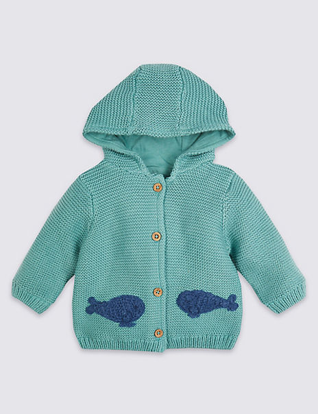 Pure Cotton Knitted Hooded Whale Cardigan