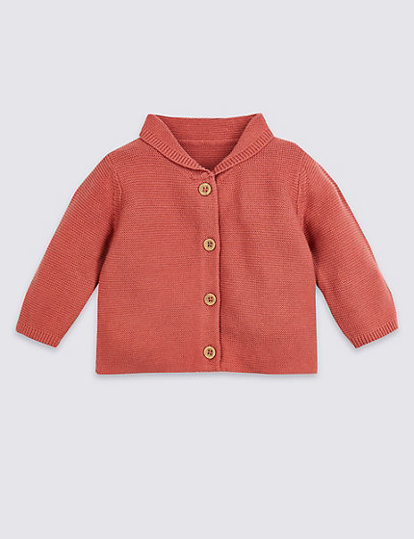 Cotton Knitted Collared Cardigan