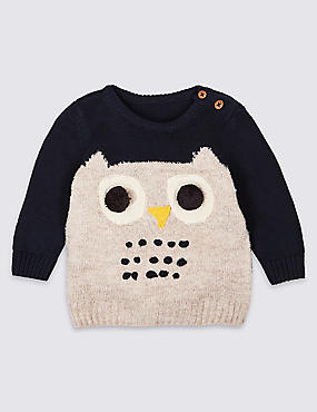 Cotton Rich Novelty Knit Owl Jumper