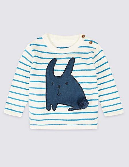 Pure Cotton Bunny Striped Jumper