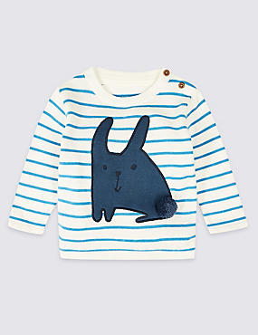 Pure Cotton Bunny Striped Jumper
