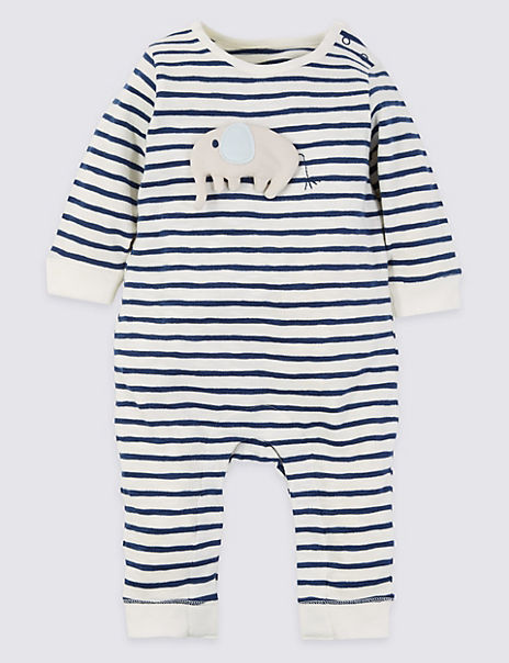 Cotton Striped All in One Sleepsuit