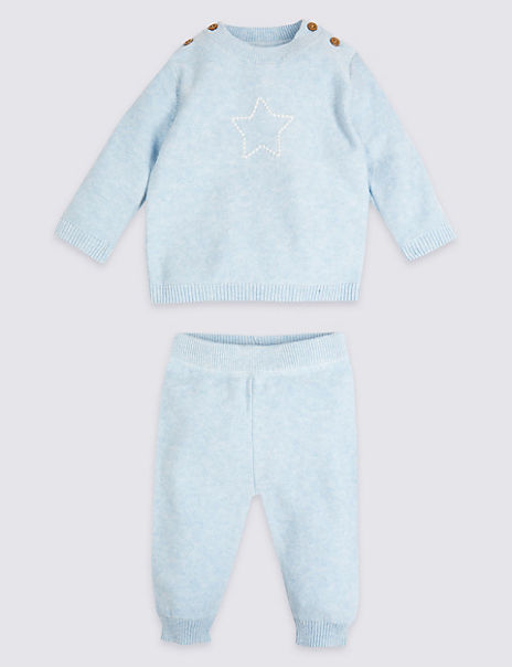 2 Piece Cotton Embroidered Star Outfit