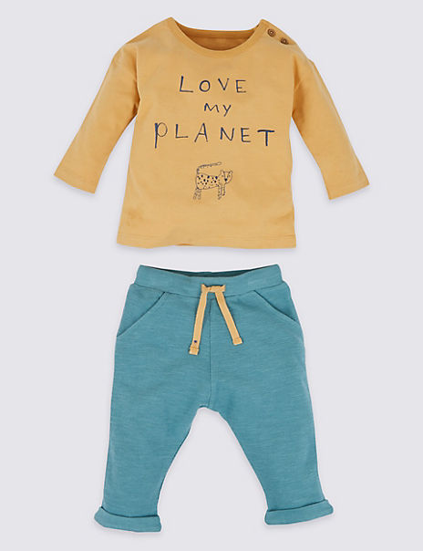 2 Piece Cotton Love My Planet Slogan Outfit