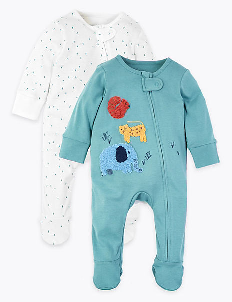 2 Pack Cotton Patterned Sleepsuits
