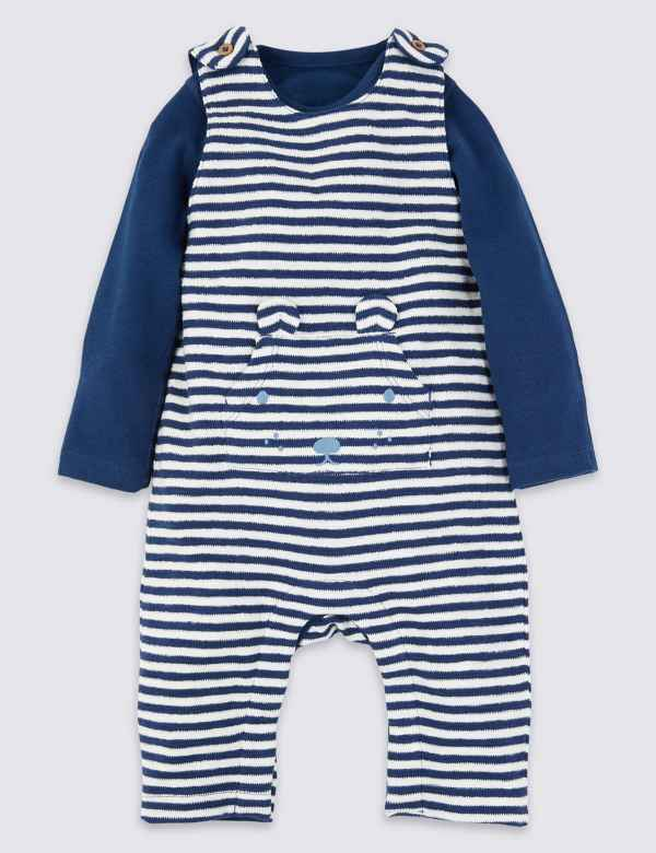 6aa300921 2 Piece Cotton Stripe Dungarees Set