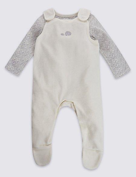 2 Piece Pure Cotton Porcupine Print Velour Bodysuit & Dungarees Outfit
