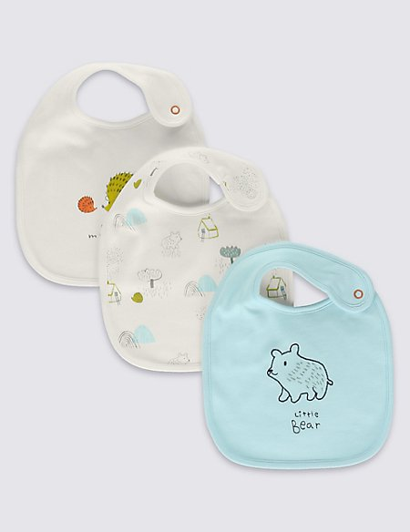 3 Pack Unisex Pure Cotton Assorted Bibs