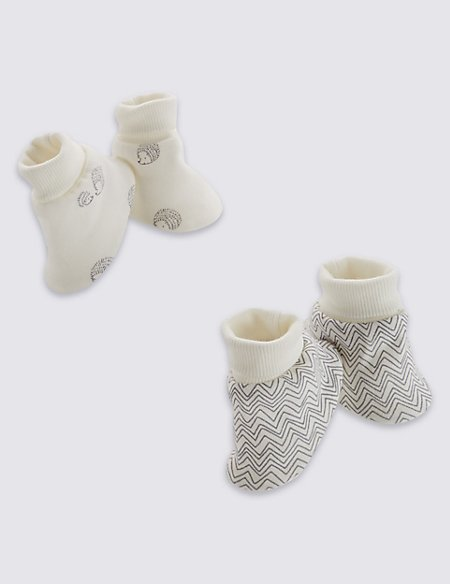 2 Pack Pure Cotton Assorted Booties