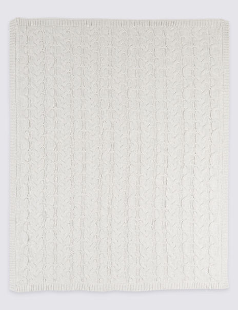 Pure Cotton Cable Knitted Fleece Shawl
