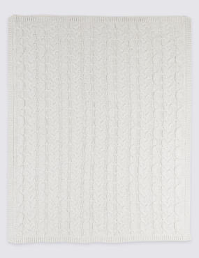 Pure Cotton Cable Knitted Shawl