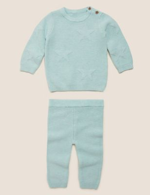 2 Piece Organic Cotton Knitted Star Outfit (7lbs-12 Mths)