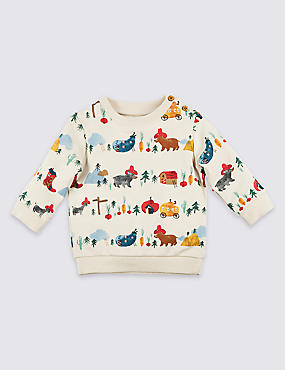 Cotton All Over Print Sweatshirt with Stretch