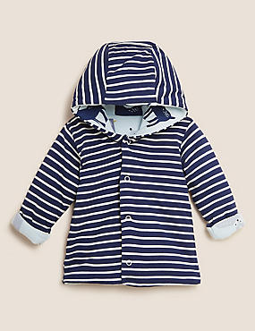 Pure Cotton Striped Hooded Coat (0-3 Yrs)