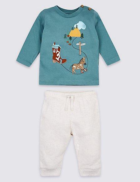 2 Piece Applique Top & Joggers Outfit
