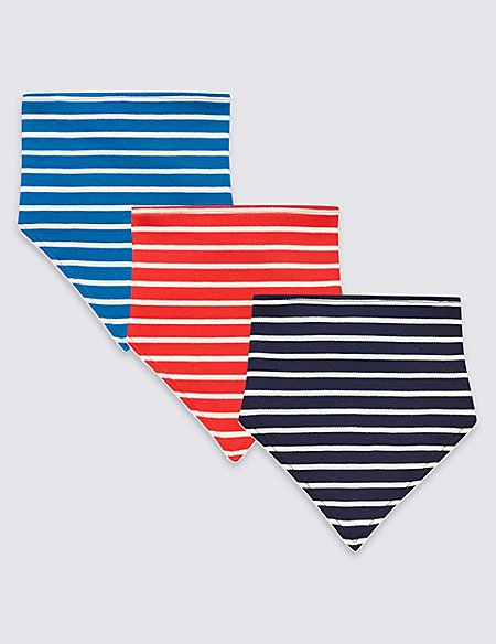 3 Pack Pure Cotton Striped Bibs