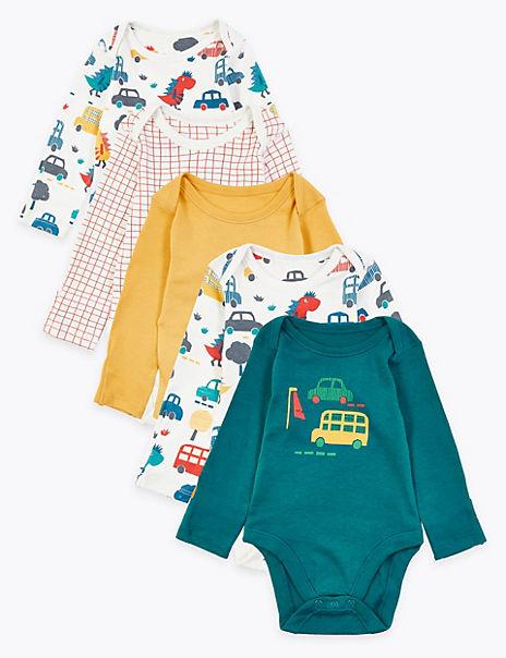 5 Pack Organic Cotton Car Print Bodysuits