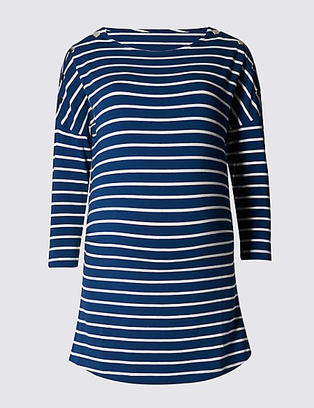 Maternity Nautical Striped Feeding Top with Modal