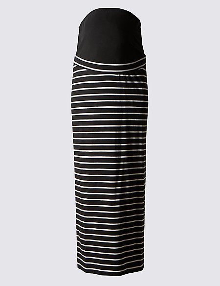 Maternity Striped Maxi Skirt with Modal