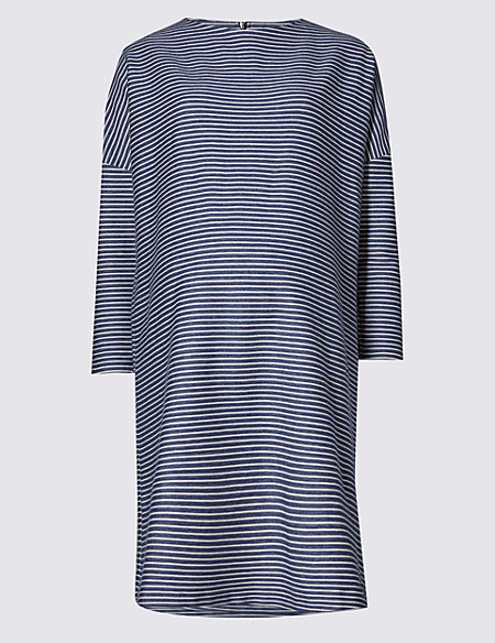 Maternity Cotton Striped Dress with Stretch